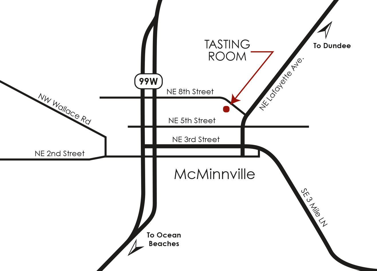 Map to Brittan Vineyards McMinnville tasting room